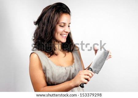 Girl with cleaver