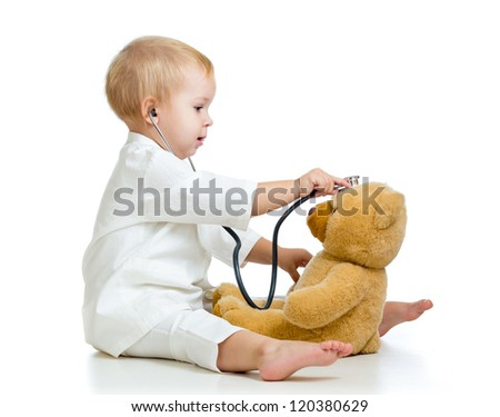 girl with clothes of doctor and teddy bear isolated on white