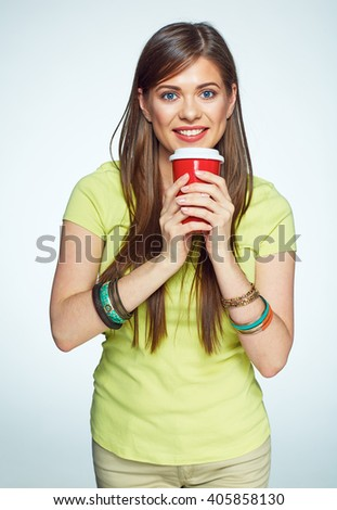 Girl with coffee. Isolated studio portrait of smiling woman. Long hair. - stock photo
