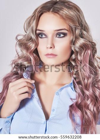 portrait beautiful blonde girl bing her stock photo