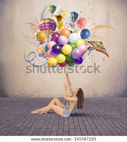 Girl with colorful explosion of ballon - stock photo