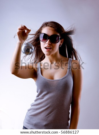 girl with disco ball - stock photo