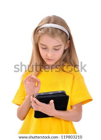 Girl with e-book - stock photo