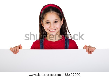 Girl with emtpy horizontal banner, isolated on white - stock photo