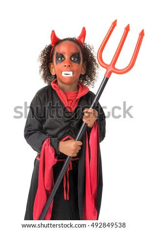 Girl with face-paint and devil Halloween costume isolated in white