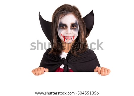 Girl Facepaint Halloween Vampire Costume Over Stock Photo ...