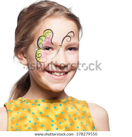 Girl with face painting. Child with body art - stock photo