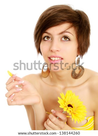 girl with flower, isolated pn white background