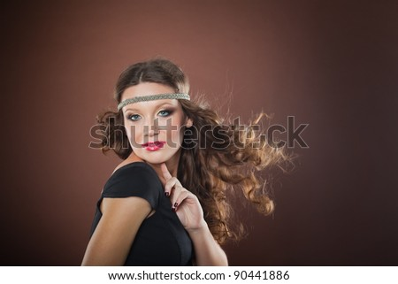 Girl with flying hair, European, White, Caucasian - stock photo