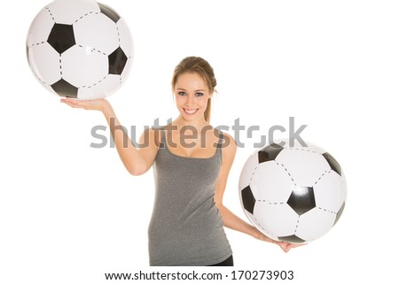 girl with footballs