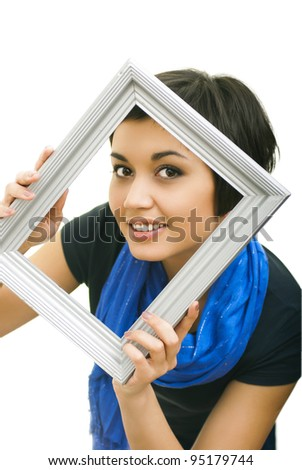 girl with frame - stock photo