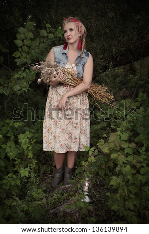 Girl with garlic.