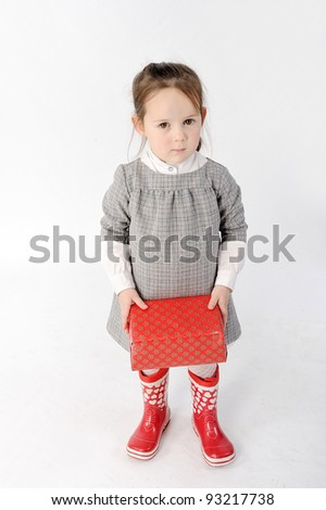 Girl with gift - stock photo