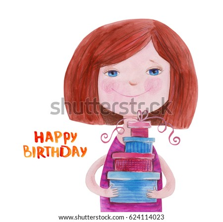 Girl With Gifts Happy Birthday Watercolor Illustration Hand Drawing