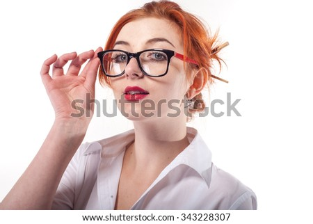 Girl with glasses in the form of teacher, office worker. Isolated on white background