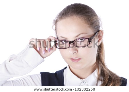 girl with glasses isolated on white background