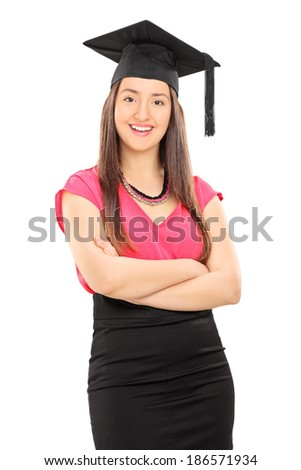 Girl with graduation hat posing isolated on white background