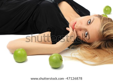 girl with green apple on isolated background - stock photo