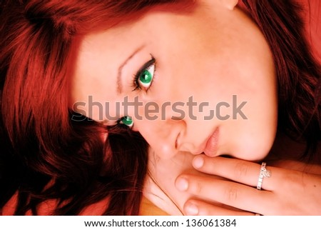 girl with green eyes an red hair - stock photo