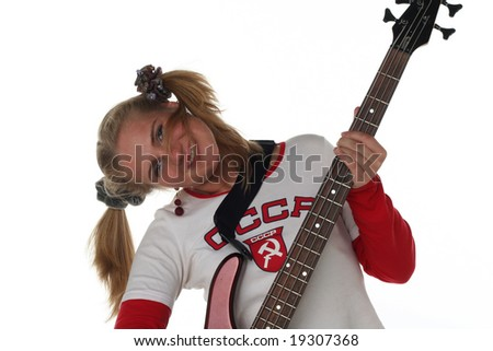 girl with guitar isolated on white background - stock photo