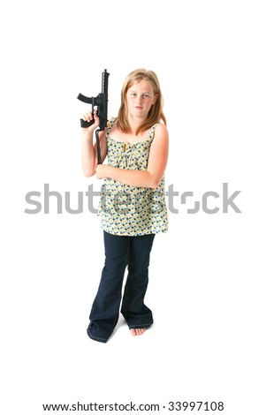 girl with gun isolated on white. child or teenager in dress with army machine gun toy