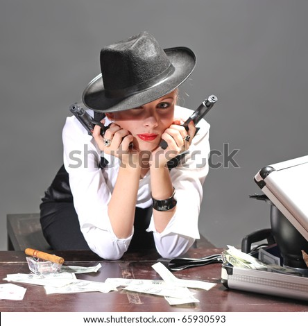 Girl with guns - stock photo