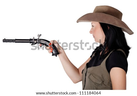 Girl with guns aiming isolated white background - stock photo