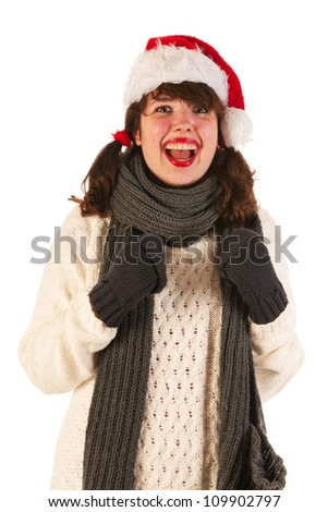Girl with hat of Santa Claus
