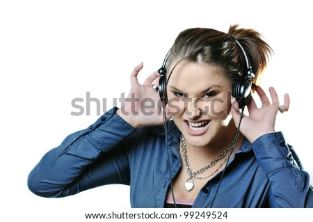 Girl with headphones isolated on white background