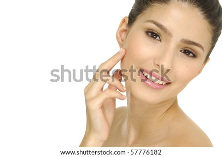 girl with health skin of face - stock photo