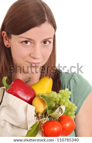 Girl with healthy food