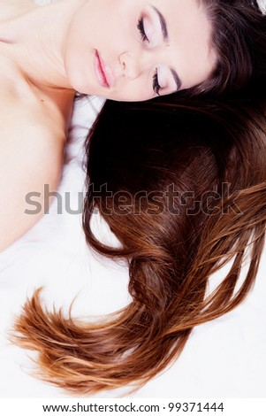 Girl with healthy strong hair in studio - stock photo