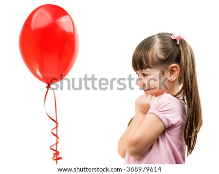 girl with heart balloon isolated on white background