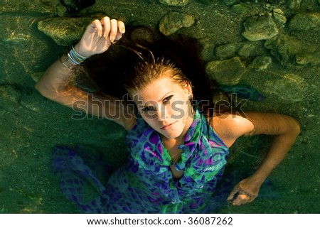 girl with her eyes open on under water