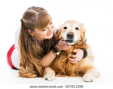 girl with her ginger retriever