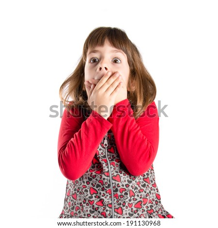 Girl with her mouth closed by her hands