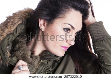 girl with jacket over white background