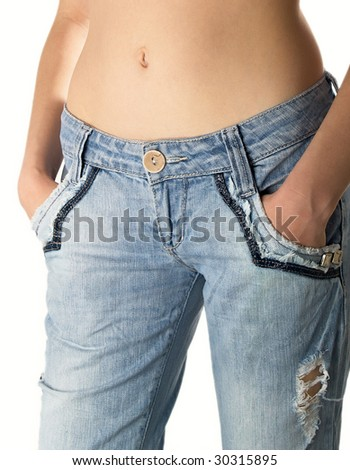 Girl with jeans on the white background