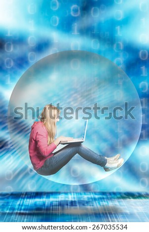 girl with laptop inside a transparent ball - stock photo