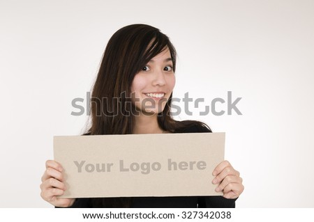 girl with logo sign right