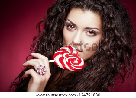 Girl with lollipop portrait