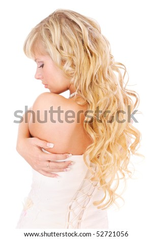 Girl with long fair hair from back, isolated on white background.