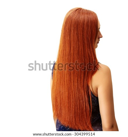 Girl with long red hair - stock photo