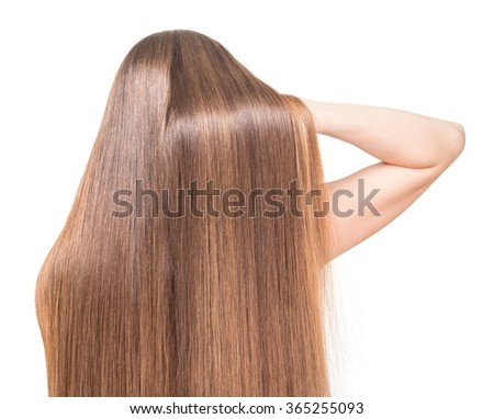 girl with long straight hair raises of his hand on a white background