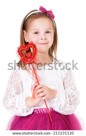 Girl with magic wand - stock photo