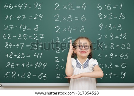 girl with math numbers on school board - stock photo