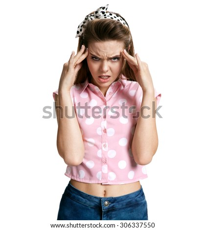 Girl with migraine headache overworked and stressed / photo of young brunette woman over white background, negative emotions - stock photo