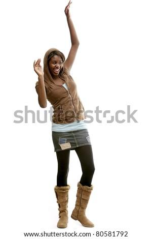 Girl With Mini Skirt And Hoodie - stock photo