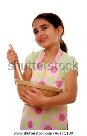 Girl with mixing bowl isolated on white