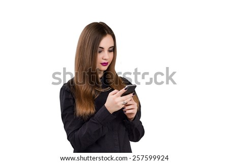 Girl with mobile phone in hand. Business style business woman theme. Isolated on white background. - stock photo